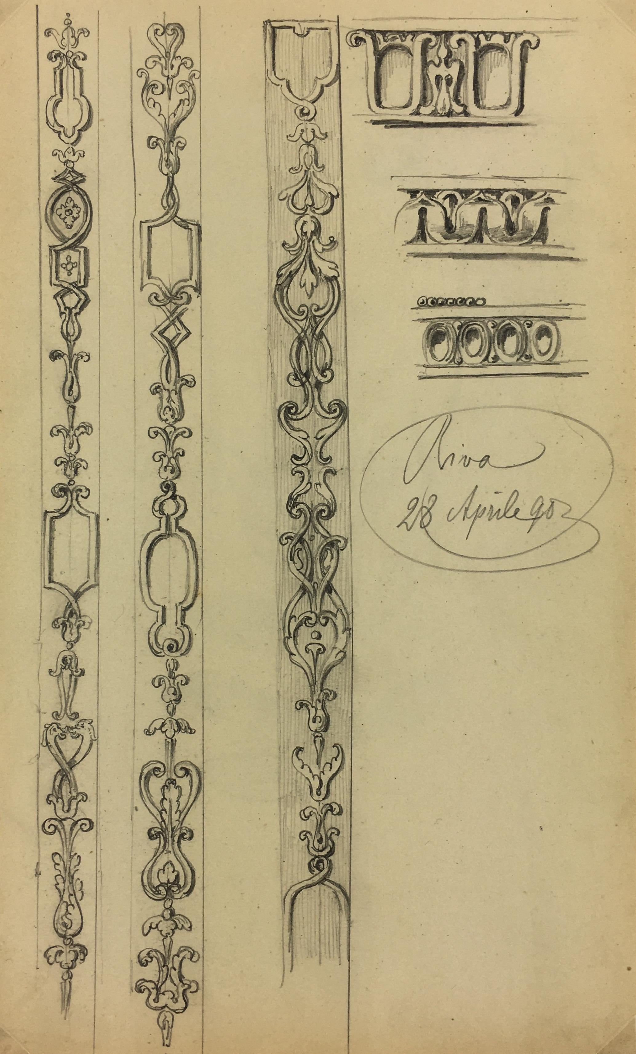 Architecture Original Art - Architectural Detail, E. Wollenweber, 1890