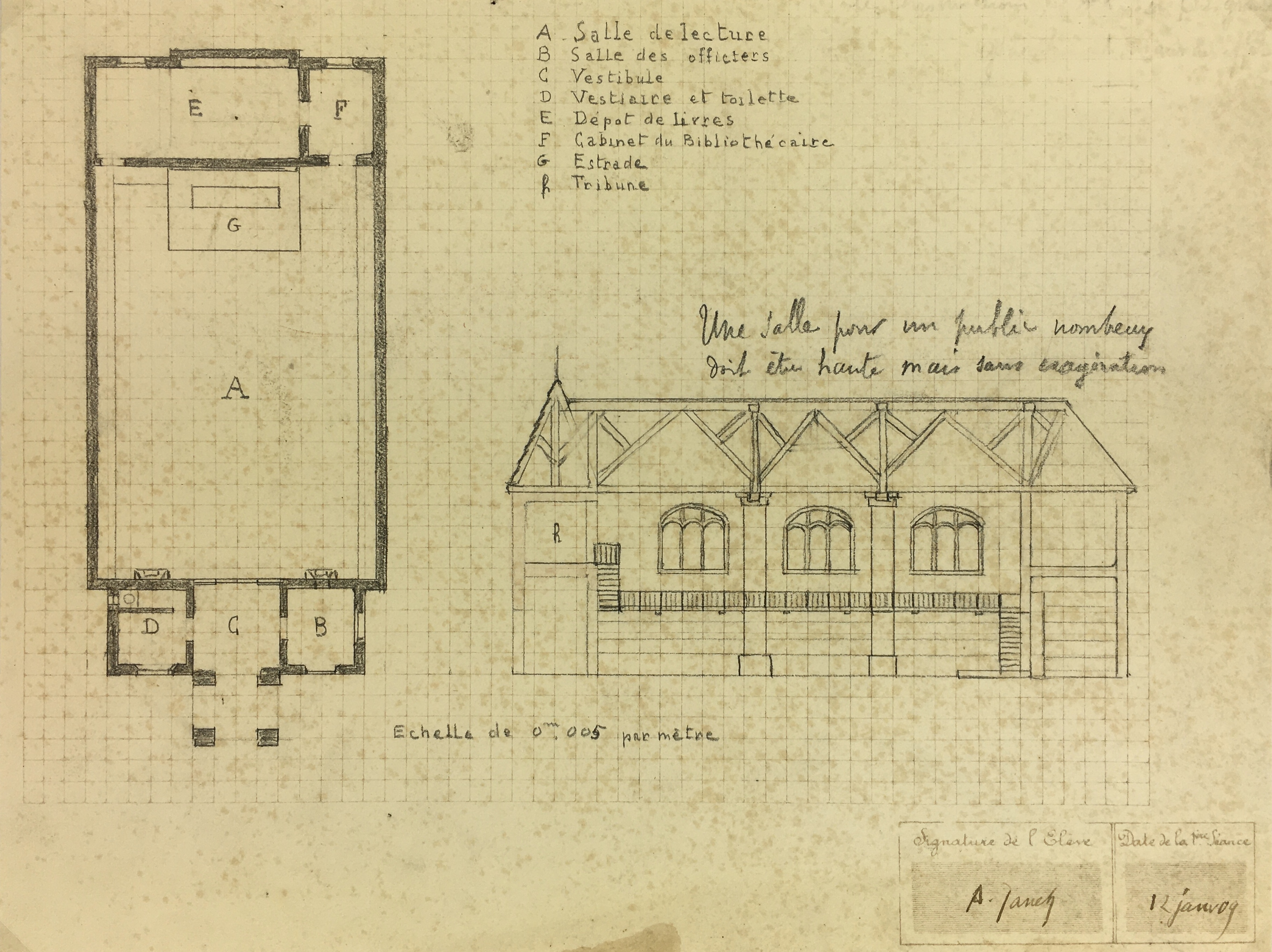 Architecture Original Art - Architectural Drawing - Town Hall, 1909