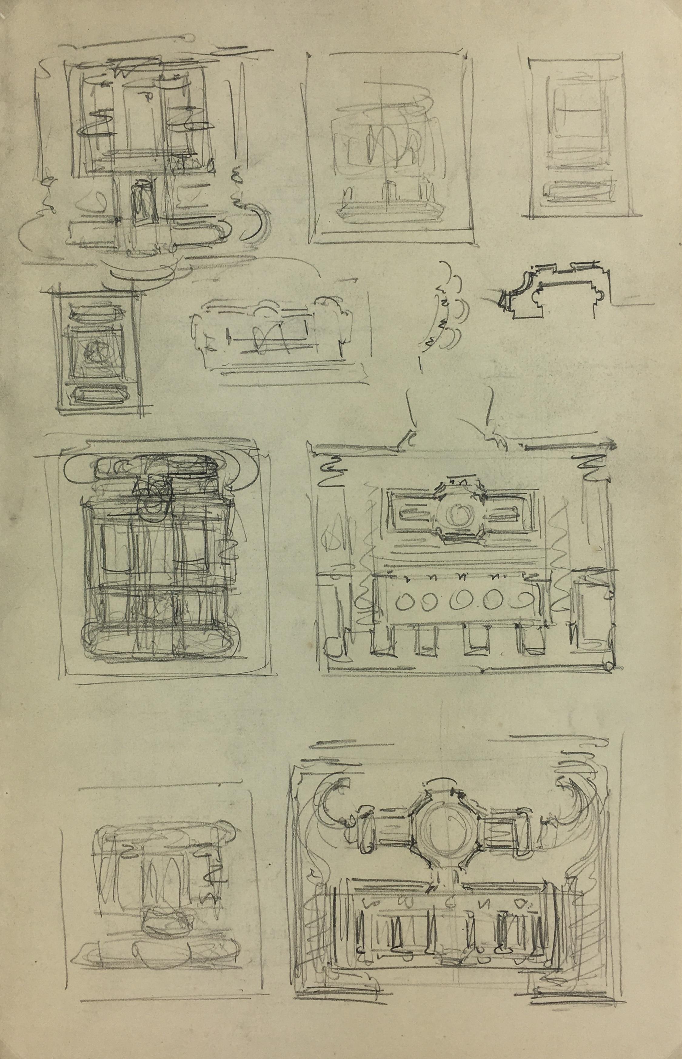 Architecture Original Art - Architecture Plan, French, c.1930