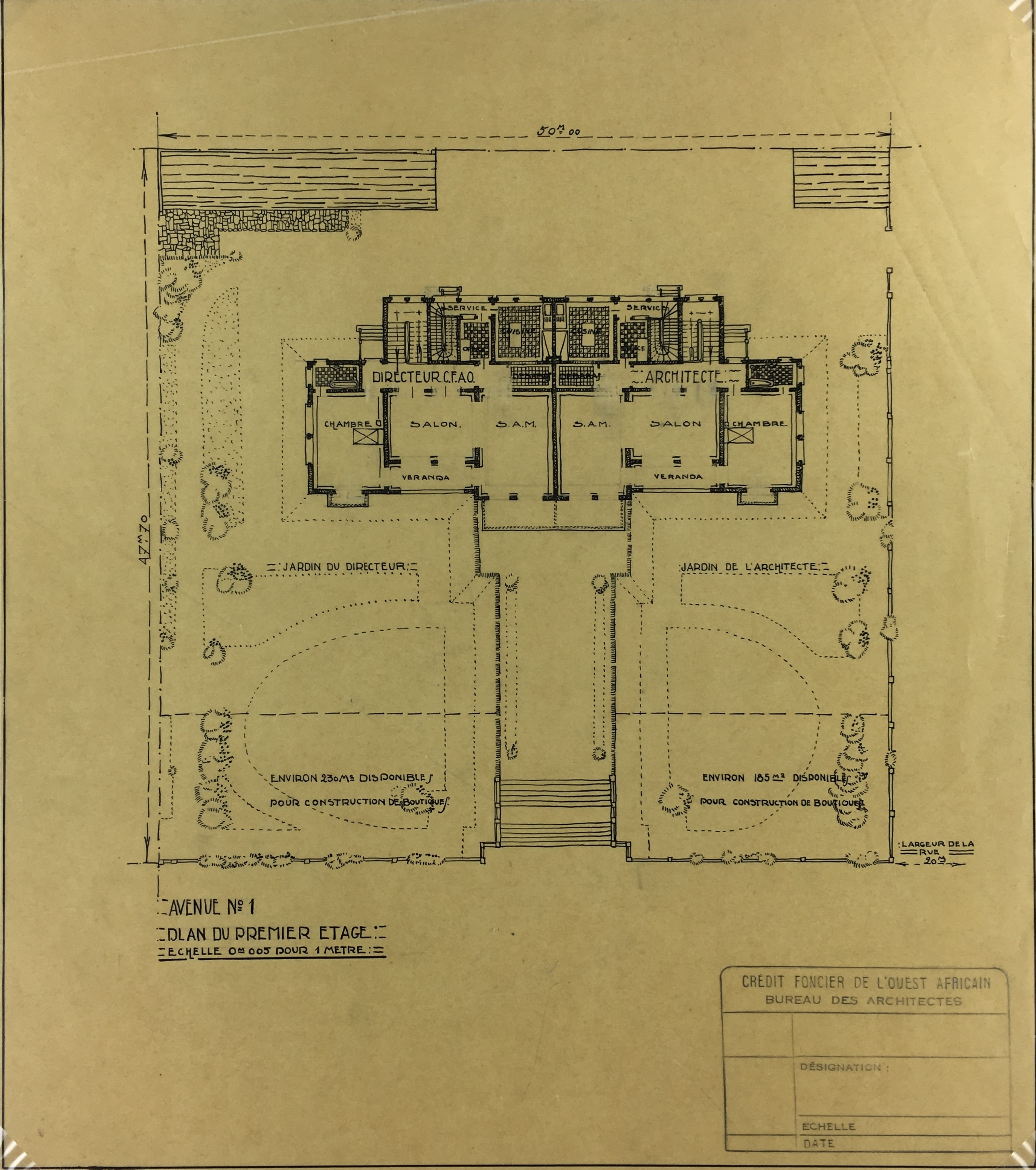 Architecture Original Art - Architectural, French West Africa Co., c.1950