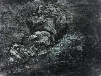 Black & White Modern Original Art - Crashing Waves, French, 1990s
