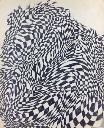 Black & White Modern Original Art - Abstract, French, c.1970