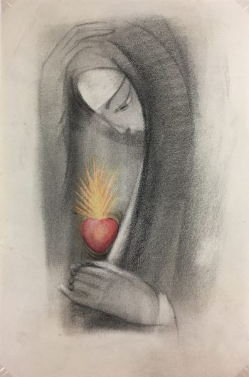 Black & White Modern Original Art - Charcoal - Sacred Heart, c.1970