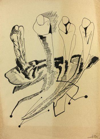Black & White Modern Original Art - Abstract, Sig Ir, c.1950