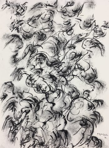 Black & White Modern Original Art - Abstraction, Begarans, 1971