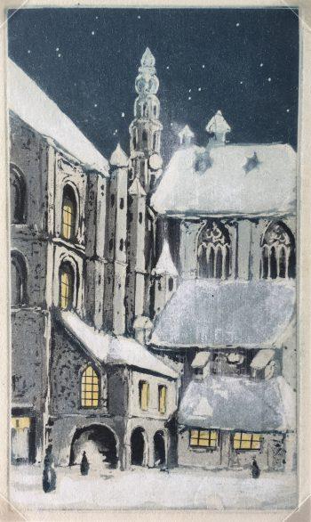 Churches & Chapels Original Art - Aquatint - Cathedral, c.1930