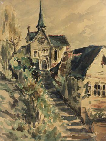 Churches & Chapels Original Art - Church Steps, J. Brideau, c.1910