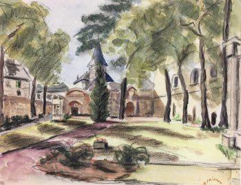 Churches & Chapels Original Art - Church Yard, R. Prigent, c.1960