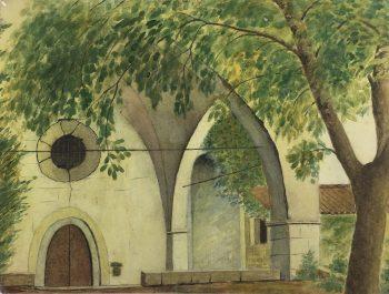 Churches & Chapels Original Art - Abbey, Notre Dame de l' Ormeau, c.1950