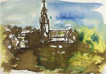Churches & Chapels Original Art - Church Steeple, Amy Even, 2012