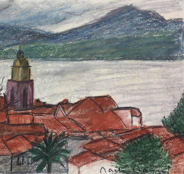 Coastal France Original Art - Mediterranean by Day, Signed, 1973