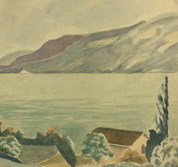 Coastal France Original Art - Riviera View, Signed, c.1940
