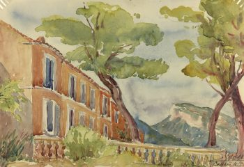 Coastal France Original Art - Cassis, Riviera, E. Gaux, 1943