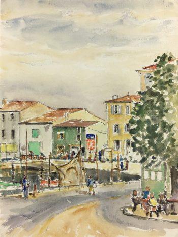 Coastal France Original Art - The Harbor, C. Groux, c.1940