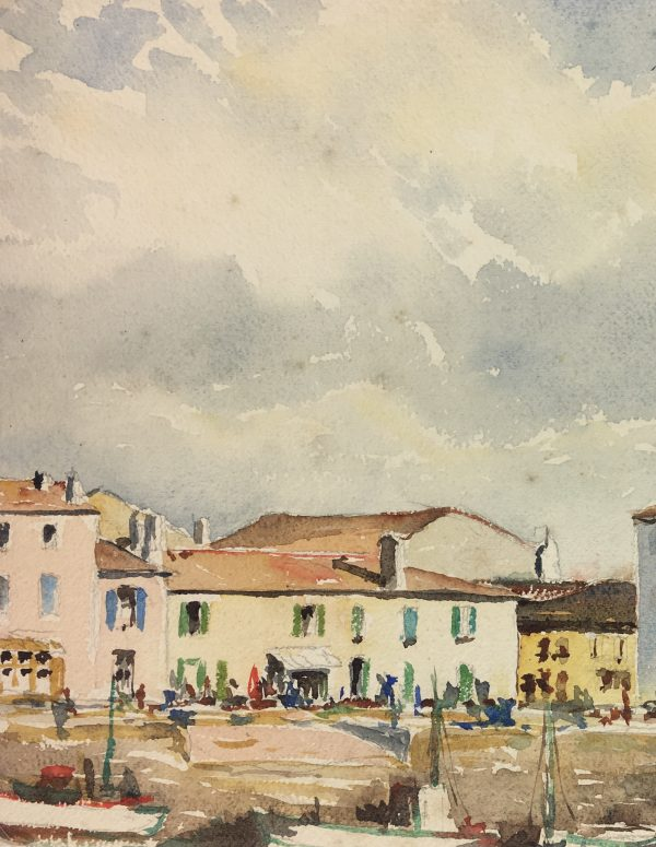 Coastal France Original Art - The Harbor, C. Groux, c.1940