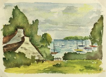Coastal France Original Art - Brittany Coast, French, c.1960