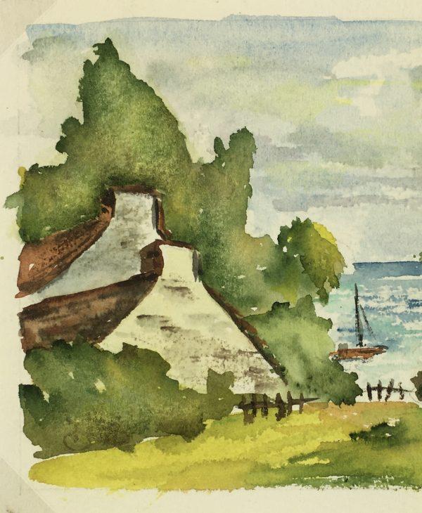 Coastal France Original Art - Brittany Coast, French, c.1960