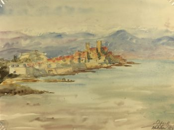 Coastal France Original Art - Antibes, Riviera, E. Gaux, 1943