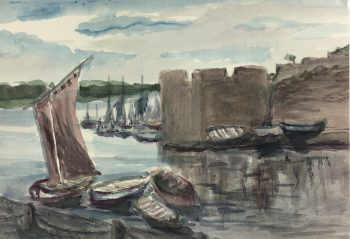 Coastal France Original Art - Aigues Mortes, MK, c.1940