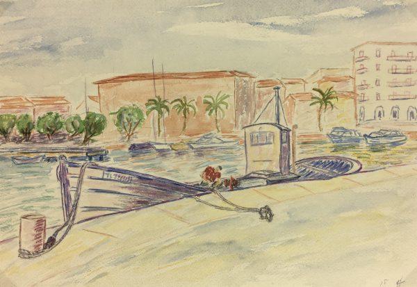 Coastal France Original Art - Mediterranean, J. Aguillaume, 1978