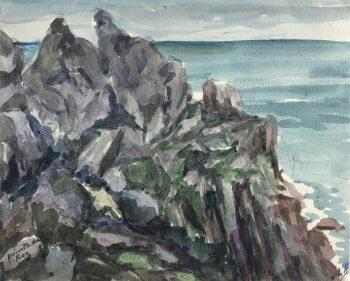 Coastal France Original Art - Pointe Raz, France, M. Kessler, 1949