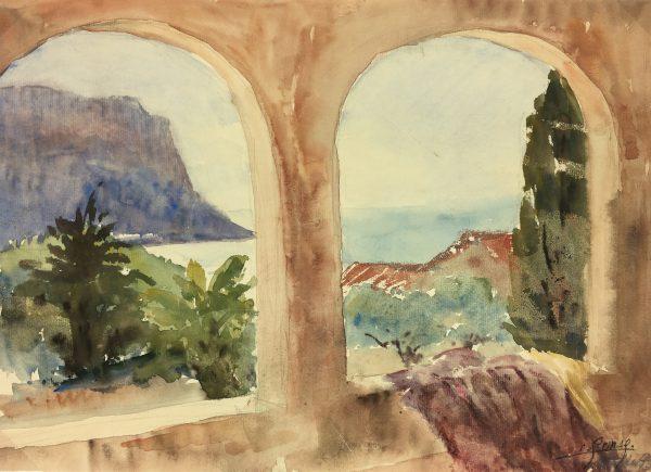 Coastal France Original Art - Cassis, Riviera, E. Gaux, 1943