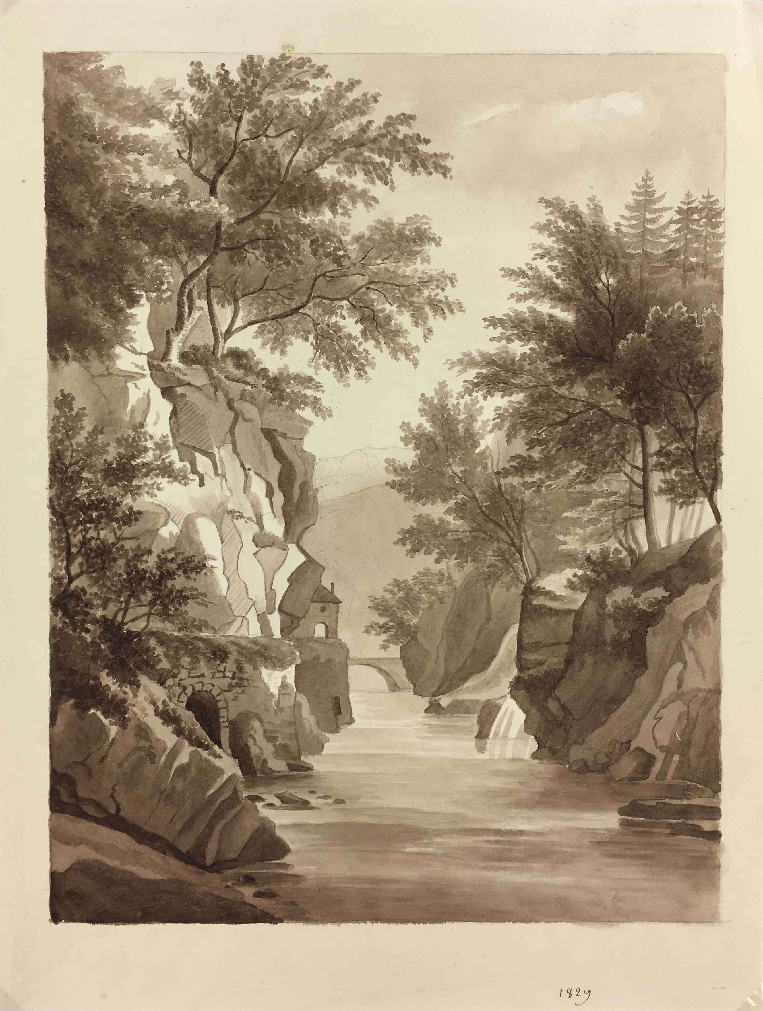 Nature Drawings Original Art - French Ink Wash - Country Scene, 1829