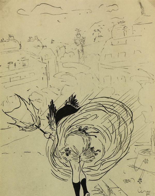 Drawings Original Art - Pen & Ink - Gust of Wind, c.1910
