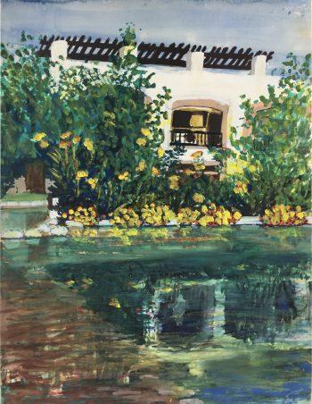 Europe Original Art - Reflection Pool, (French), c.1950