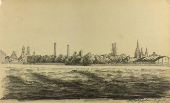 Europe Original Art - Hirscgarten (Munich), E. Wollenweber, 1903