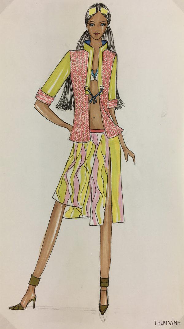 Fashion Original Art - Fashion Sketch, French, c.2000