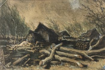 France Original Art - Winter Logging, c.1910