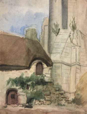 France Original Art - Foot of the Castle, c.1950