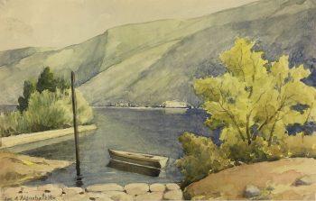 France Original Art - Aiguebalette Lake, c.1930