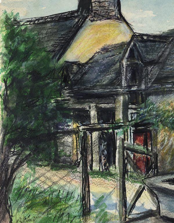 France Original Art - Old Farm, Signed LL, c.1950