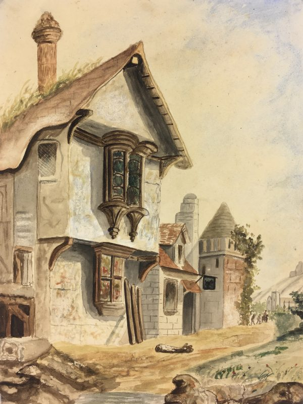 France Original Art - The Tavern, Medieval Perspective, c.1880