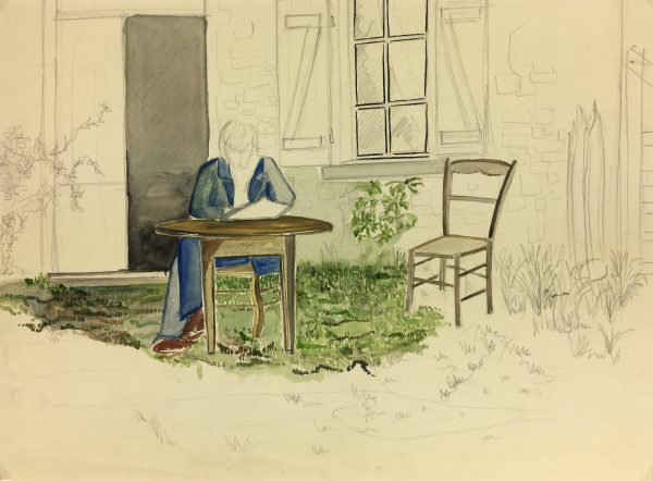 France Original Art - Pencil Watercolor - Reading, c.1960