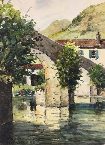 France Original Art - Pont Noblia, R. Maga, c.1950