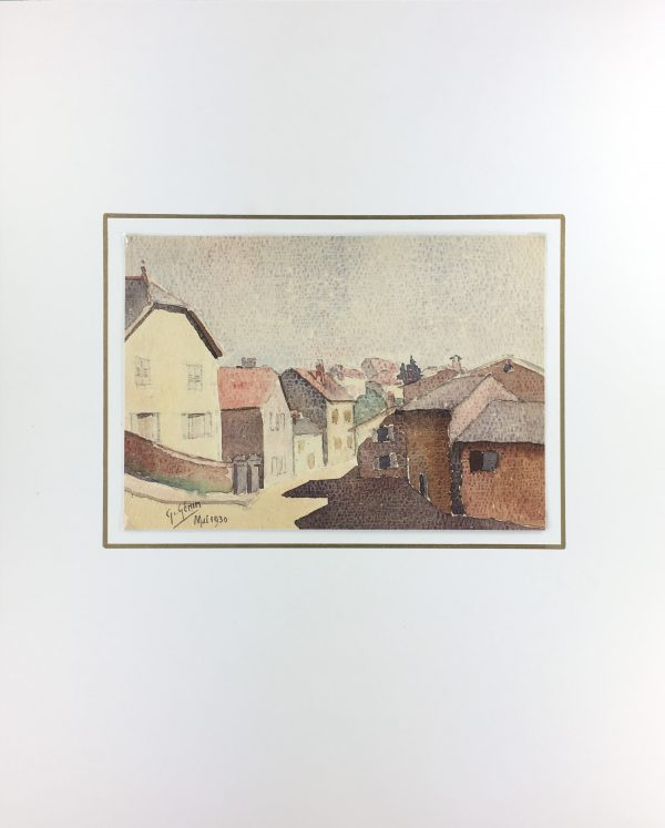 France Original Art - French Town, Signed, c.1930