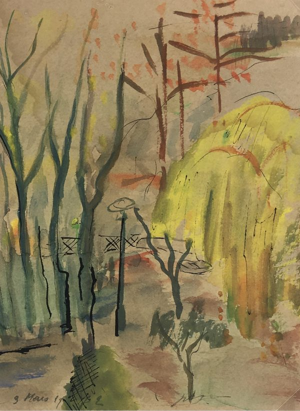 France Original Art - Parc de Beaurivage , Signed, French, 1972