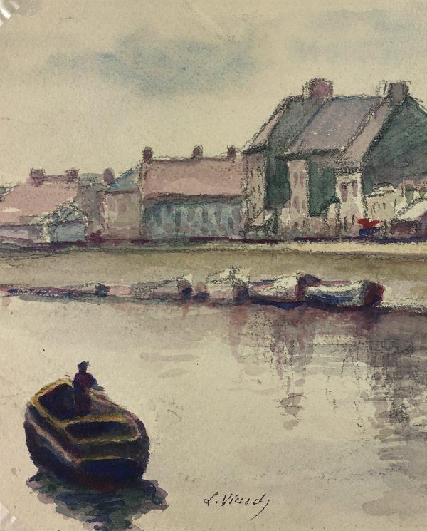 France Original Art - Inner Harbor, L. Viardy, c.1930