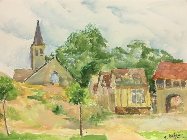 France Original Art - French Town, Signed, 1977