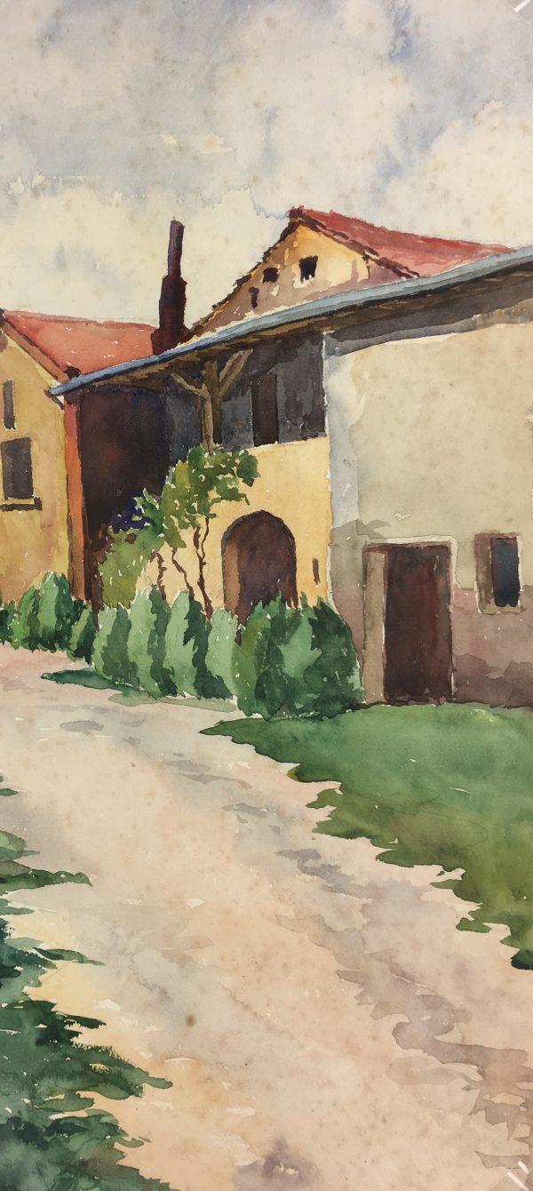 France Original Art - French Farm, A. Poirier, c.1930