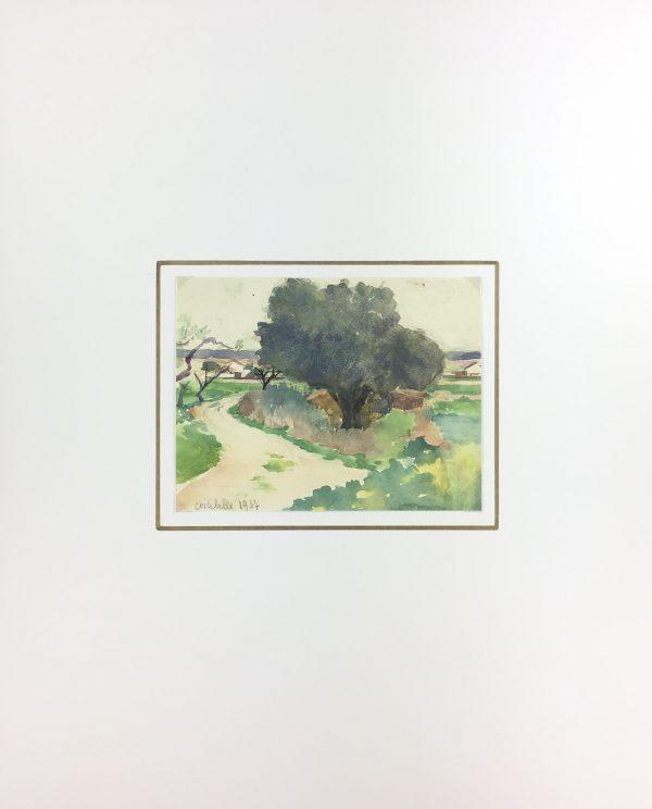 France Original Art - Watercolor - Costebelle, France, 1937