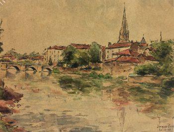 France Original Art - French Town, Jacques Puis, 1943