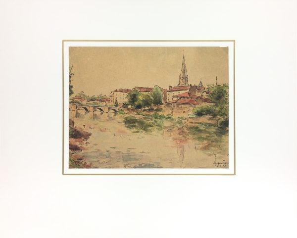 France Original Art - French Town, Jacques Puis, 1943