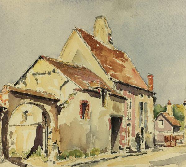 France Original Art - French Town, C. Groux, c.1940