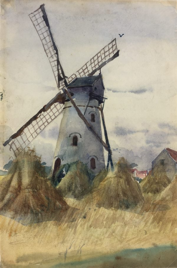 France Original Art - Windmill, La Roche, 1910