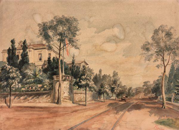 France Original Art - French Villa, Signed, 1905