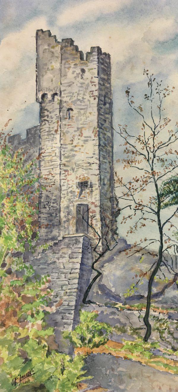 France Original Art - Ruined Castle, F. Jacobin, 1943